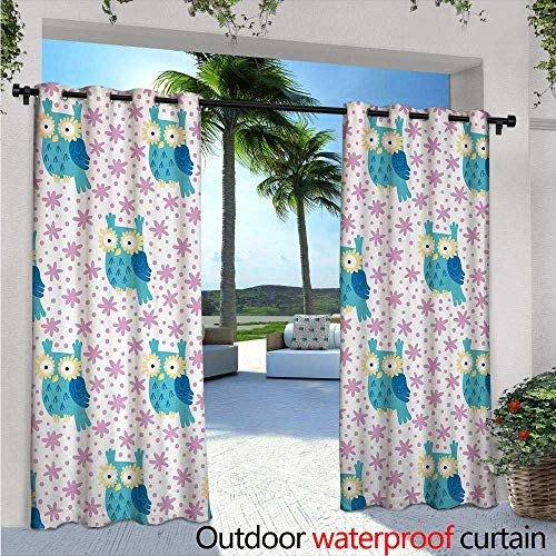 oor/Outdoor Single Panel Print Window Curtain W72 x L84 Cute Cartoon Owl Pattern Flowers as Eyes Forest Background Fun Nature Silver Grommet Top Drape Pink Seafoam Pale Yellow ()