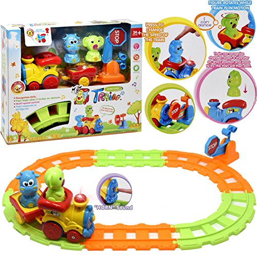 My First Choo Choo Train Set, Beginner Musical Train Set With Tracks and Toy Animals for Baby, Toddler and Kids, Best Gift ! (Set Train Plastic)