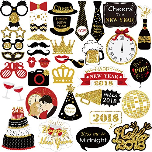 Party Years Supplies New Eve (Unomor 2018 Photo Booth Props, Glitter Photo Booth Props for Birthday Graduation Party Supplies Decorations - 39 PCS)