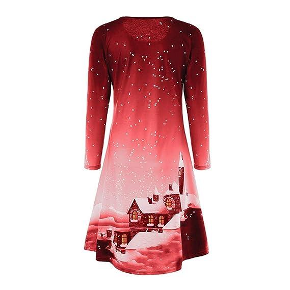 Christmas Series Dress-Women Xmas Printing Long Sleeve Evening Party Milk Silk Mini Dress at Amazon Womens Clothing store: