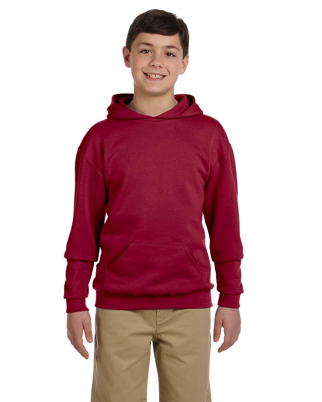 Jerzees Nublend Youth Pullover Hooded Sweatshirt (Crimson) (L)