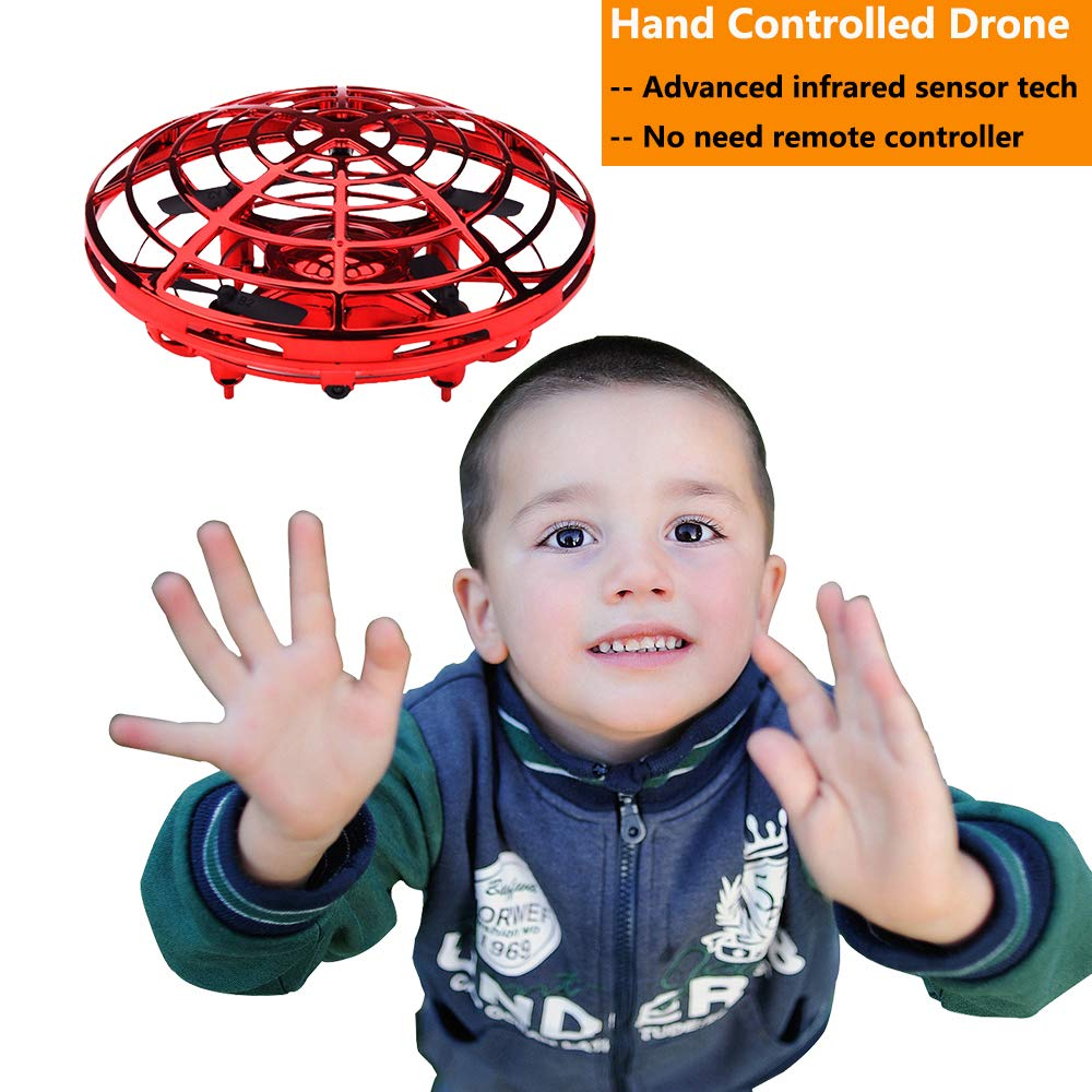 BOMPOW Boys Toys Kids Flying Drones Mini Hand Controlled Flying Ball Drone with 2 Speed and LED Light for Kids, Boys and Girls Gift (Red) by BOMPOW (Image #1)