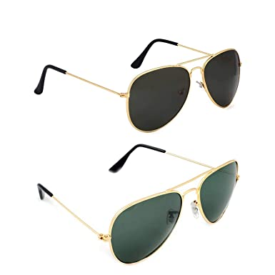 641f87767749 Dervin Aviator Men's and Women's Sunglasses Combo (Black, Green) - Pack of 2