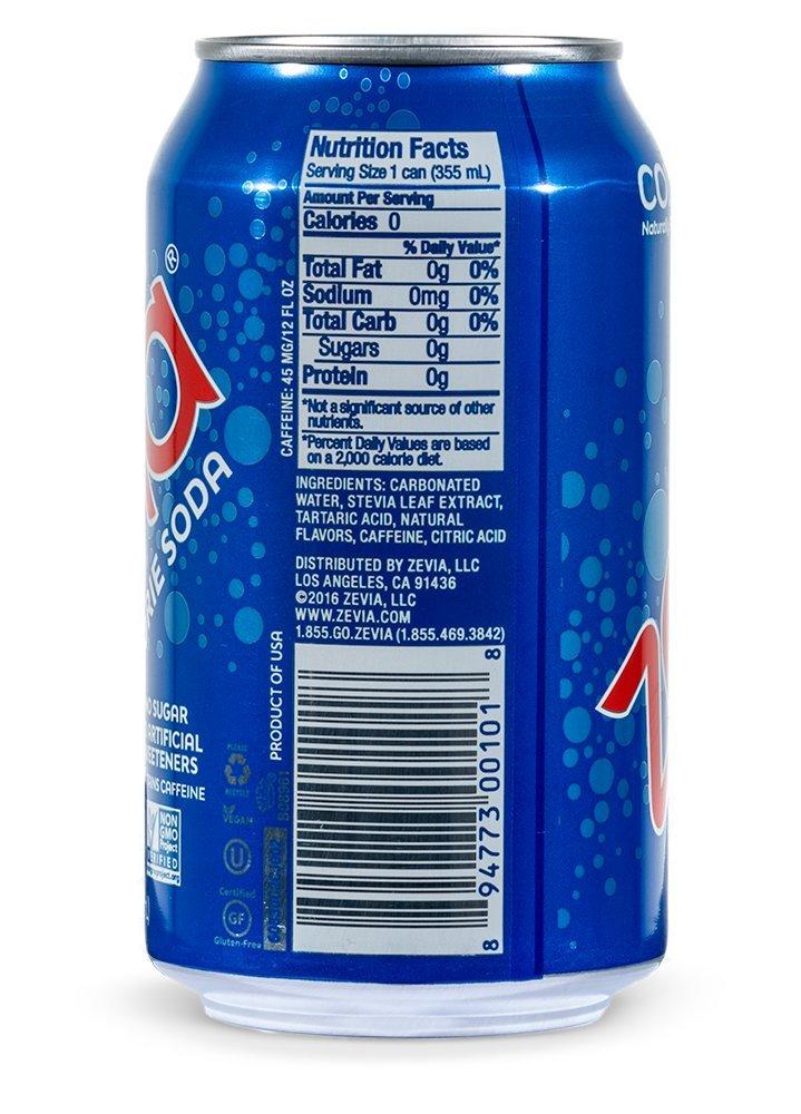 Zevia Zero Calorie Soda, Cola, Naturally Sweetened, (Pack ...