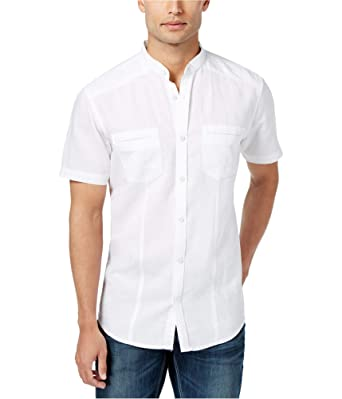 fe377807c25b50 I-N-C Mens Linen-Blend Band-Collar Button Up Shirt White M at Amazon ...