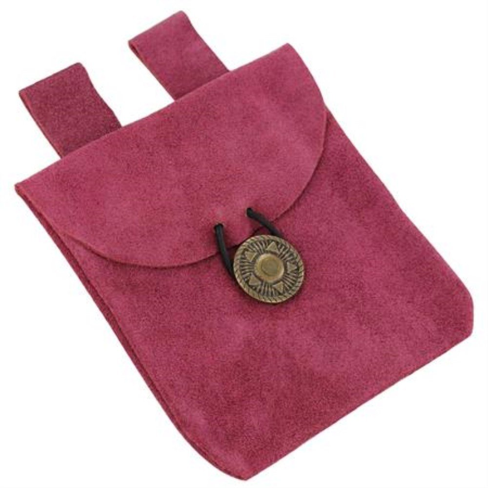 Blushine Pink Small Medieval Renaissance Rose Pink Suede Leather Belt Pouch