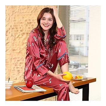 HAOLIEQUAN Pijamas De Seda De Satén Mujeres Pijamas Primavera Pantalones De Manga Completa 2 Piezas De
