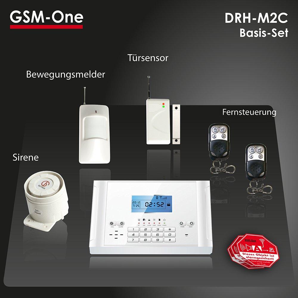GSM Funk Alarmanlage DRH-M2C, Basispaket inkl. Sirene, Sensoren, Fernsteuerung