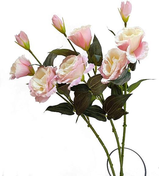 Amazon Com Suandsu 3pcs Artificial Eustoma Lisianthus Flowers Fake Eustoma Grandiflorum Flower Silk Flower Arrangement Accessories Pink Furniture Decor