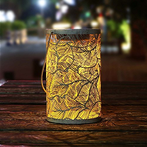 TAKEME Solar Lantern Lights,Outdoor Hanging Garden Lights Metal Feather Pattern Lights Lamp for Patio,Outside or Table
