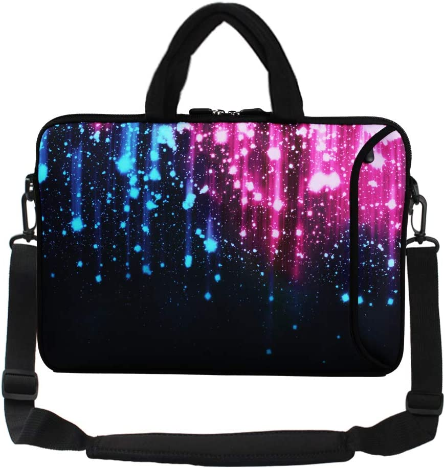 "Violet Mist 13""15""15.6""Neoprene Laptop Sleeve Bag Waterproof Sleeve Case Briefcase Pouch Bag Adjustable Shoulder Strap External Pocket(11""12""13""-13.3"",Galaxy)"