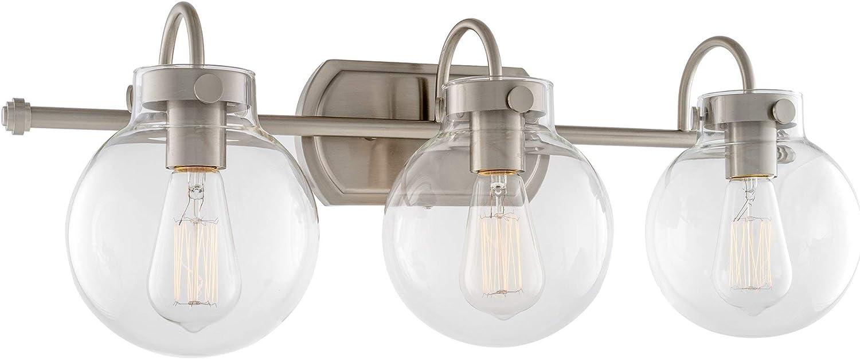 Kira Home Noelle 26 Modern 3-Light Vanity Bathroom Light Clear Glass Globe Shades, Brushed Nickel Finish