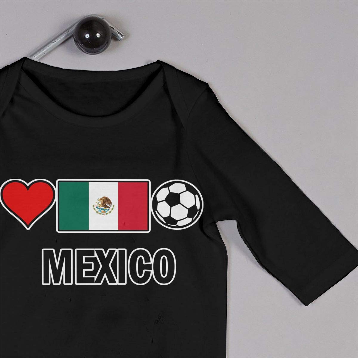 Soft Mexico Football Soccer-1 Crawler U99oi-9 Long Sleeve Cotton Bodysuit for Baby Boys and Girls