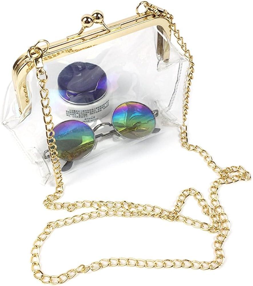 Opromo Transparent PVC Kiss Lock Chain Cross Body Bag Womens Clutch Clear Purse