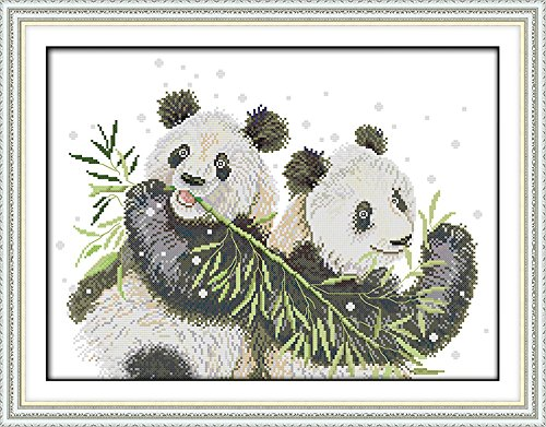 Full Range of Embroidery Starter Kits Stamped Cross Stitch Kits Beginners for DIY Embroidery (Multiple Pattern Designs)-Two Pandas
