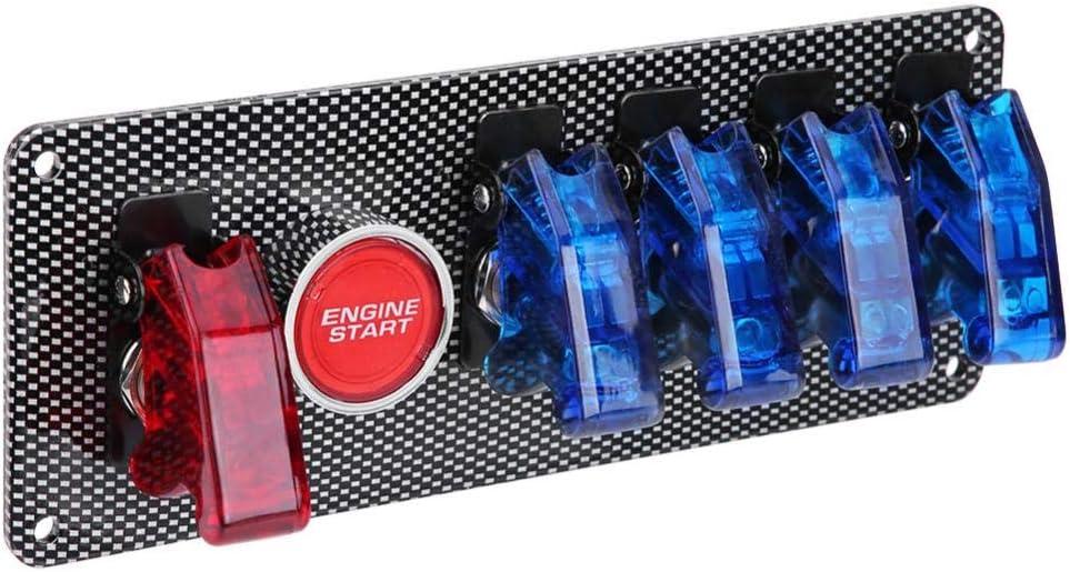 Dc12v Zündschalter Metall Abs Kunststoff Oberfläche Panel Zündschloss 6 In 1 Rennwagen Motor Start Taster Led Toggle Auto