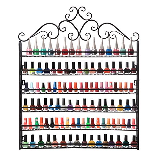 Dazone DIY Mounted 6 Shelf Nail Polish Wall Rack Organizer Holds 120 Bottles Nail Polish or Essential Oils (Black)