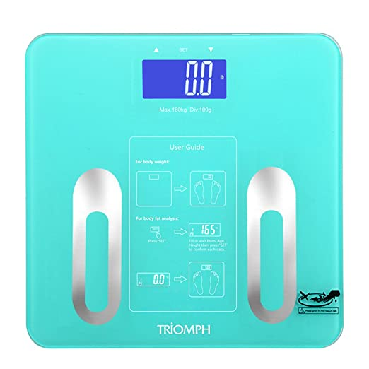 Triomph Precision Body Fat Scale with Backlit LCD Digital Bathroom Scale For Body Weight, Body Fat, Water, Muscle, BMI, Bone Mass and Calorie,10 User Recognition 400 lbs, Fat Loss Monitor, Blue