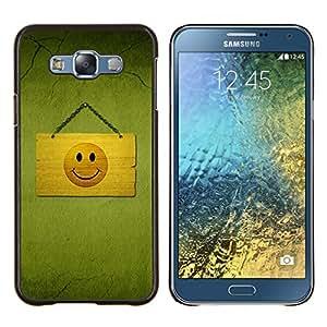 BearCase / Cubierta de protección Caso duro de la contraportada de Shell Plástico /// Samsung Galaxy E7 E700 /// Cara feliz sonriente Dibujo del símbolo amarillo