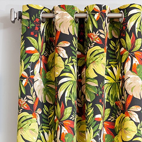1 Piece 96 Inch Black Outdoor Floral Gazebo Curtain, Green Flower Pattern Outside Window Treatment Single, Indoor Patio Porch Entrance Door Grommet Ring Top Doorway Pergola Drapes, Cabana Polyester by DH