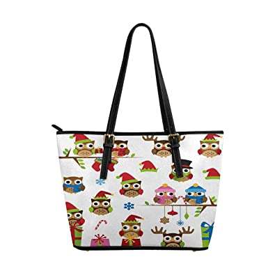 INTERESTPRINT Christmas Holiday PU Leather Tote Shoulder Bag Work Bag handbag