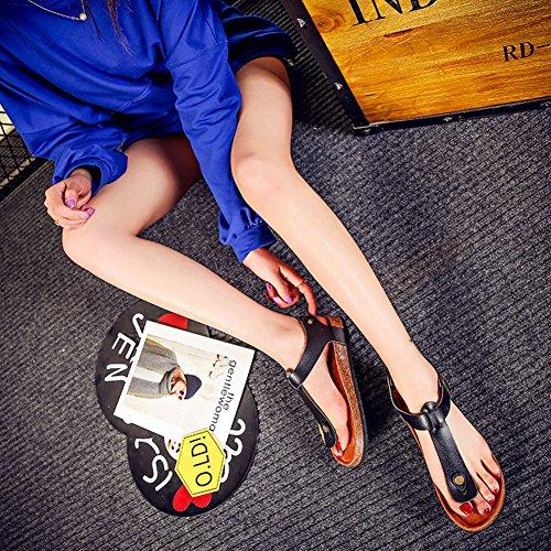 Mujer T-Correa Planas Sandalias Unisexo Zapatos de la playa Chanclas Chancletas de verano Flip Flop Negro