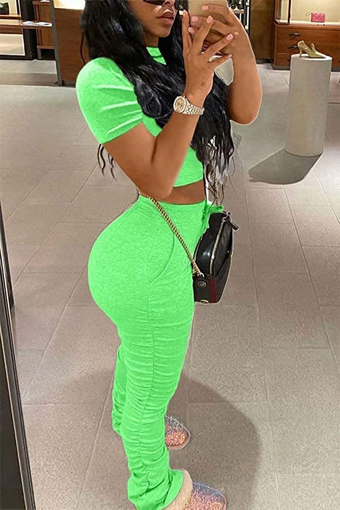Womens Casual Two Piece Outfits Crop Top High Waist Stacked Sweatpants Set Loungewear Jogging Tracksuit Sweatsuit