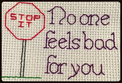 - Counted Cross Stitch Kit. Stop it. No one feels bad for you.