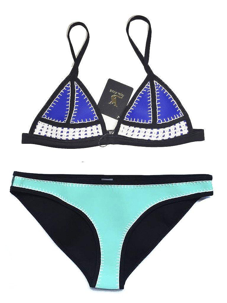 FLORAVOGUE Hand Crochet Conjoin Color Push Up Swimwear Neoprene Bikini Set BK1921