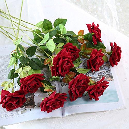 Red Roses Silk Velvet - JUSTOYOU 10pcs Artificial Rose Silk Velvet Flower Blossom Bridal Bouquet for Home Wedding Decor (Dark Red)