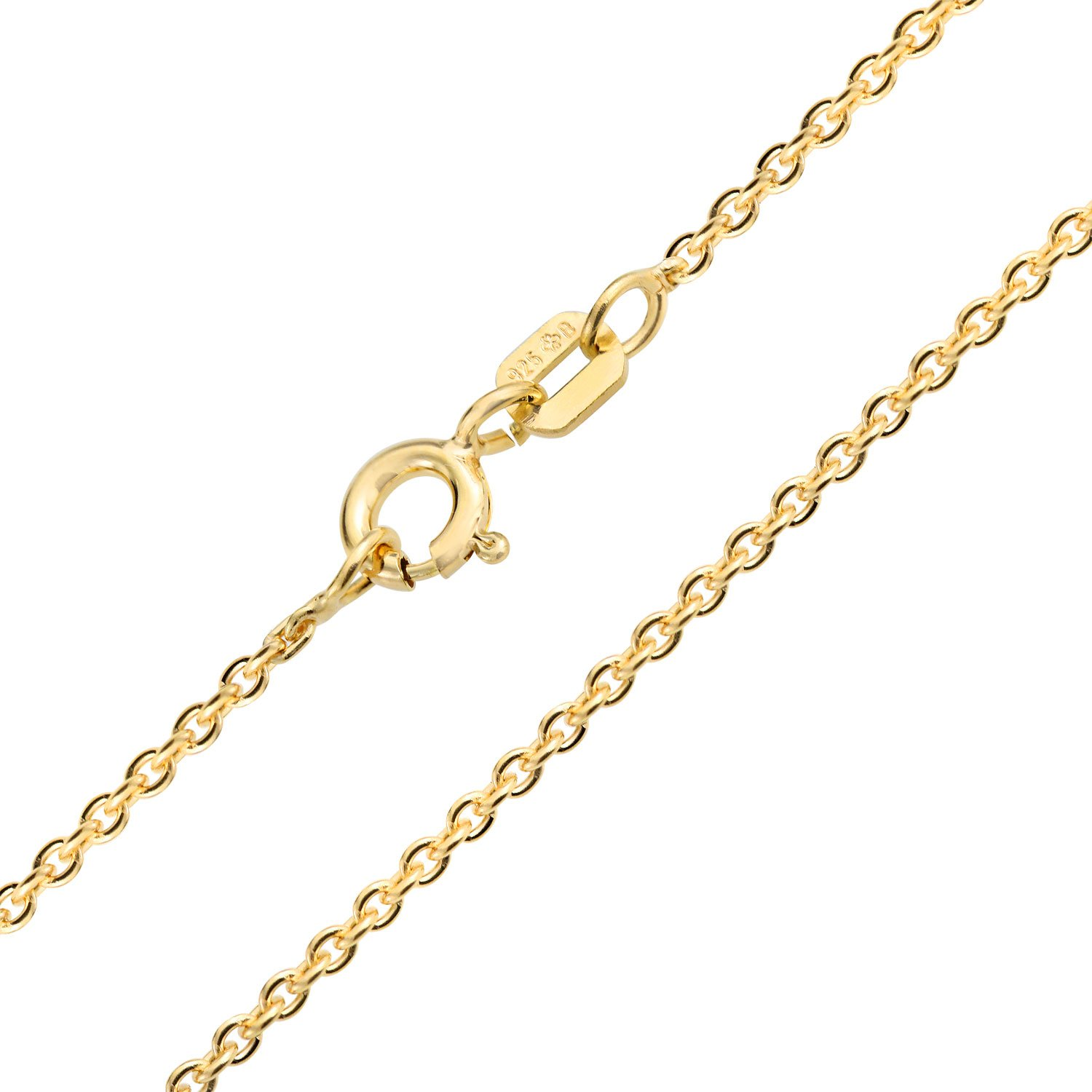 Bling Jewelry Round Link Rolo Chain Gold Plated Necklace SSTR-RL40-G-16