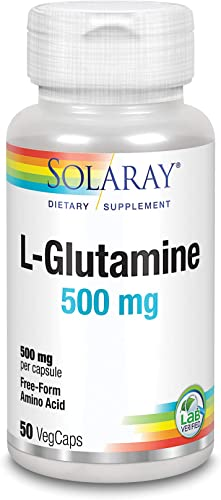 Solaray L-Glutamine Free Form Supplement, 500 mg, 50 Count