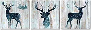 Welmeco Vintage Animals Canvas Wall Art Decor Abstract Elk Deer Picture Framed and Stretched Rustic Painting Retro Wall Decoration for Home Living Room Bedroom