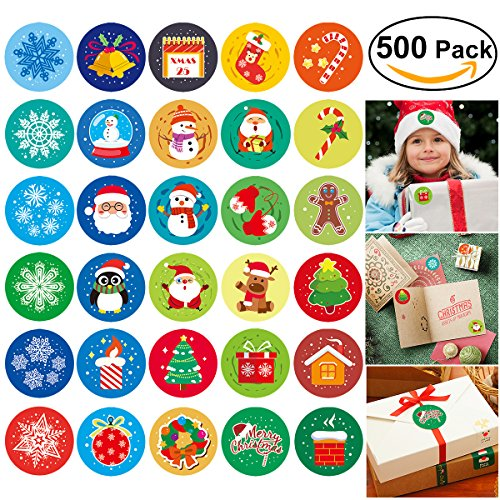 UNOMOR Christmas Stickers, 500 Assorted Adhesive Roll Stickers 30 Patterns in 5 Rolls, Diameter 1 1?2
