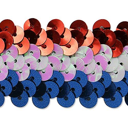 Expo International 1-1/4-Inch 3-Row Metallic Americana Stretch Sequin Trim Embellishment, 20-Yard, Multicolor by Expo International