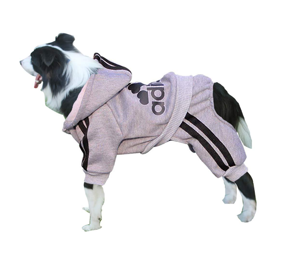 Rdc Pet Adidog Dog Hoodies, Clothes,Fleece Jumpsuit Warm Sweater,4 Legs Cotton Jacket Sweat Shirt Coat Small Dog Medium Dog Large Dog (6XL, Grey)