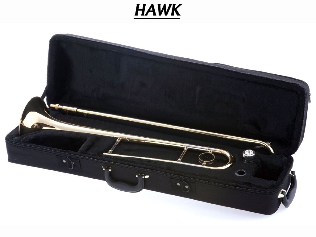 Hawk WD-TB315 Slide Bb Trombone with Case and Mouthpiece, Gold Lacquer