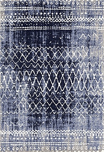 ADGO Ravenna Collection Modern Contemporary Trellis Lattice Design Live Vivid Color Jute Backed Area Rugs Tall Pile Height Soft and Fluffy Indoor Floor Rug, Navy Blue Grey, 5' x 7'