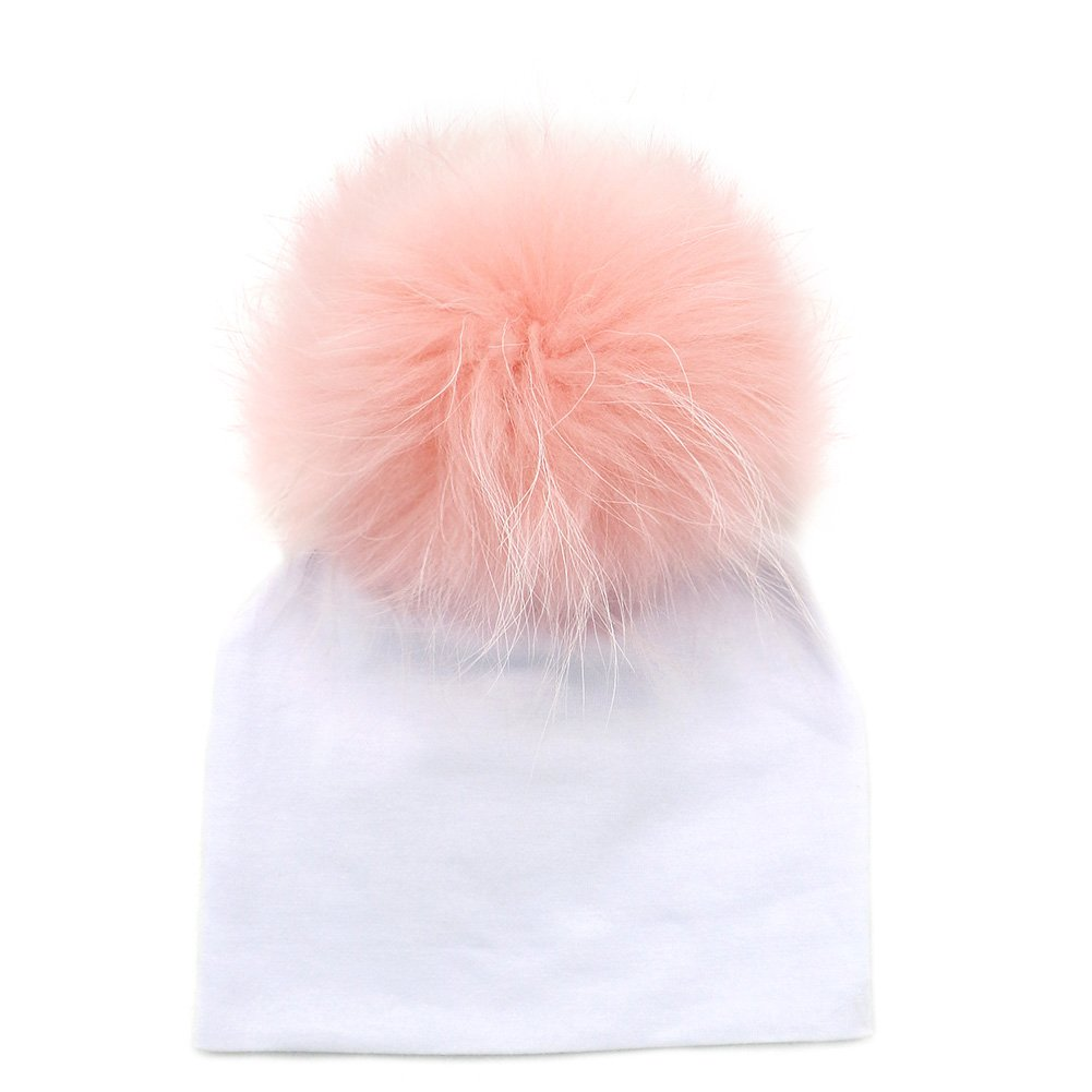 GZHILOVINGL 0-6 Months Baby Hats Newborn Infant Beanie with Real Fur Pom Pom Winter