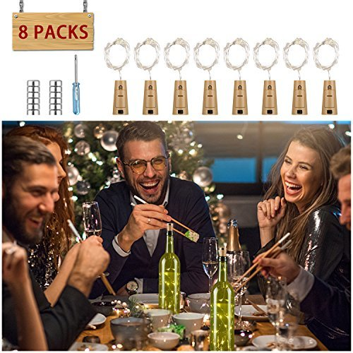 Wine Bottle Cork Lights-BUKELERN 8 Set Bottle Lights Battery 15 LEDs Starry String Lights Battery Operated Wine...