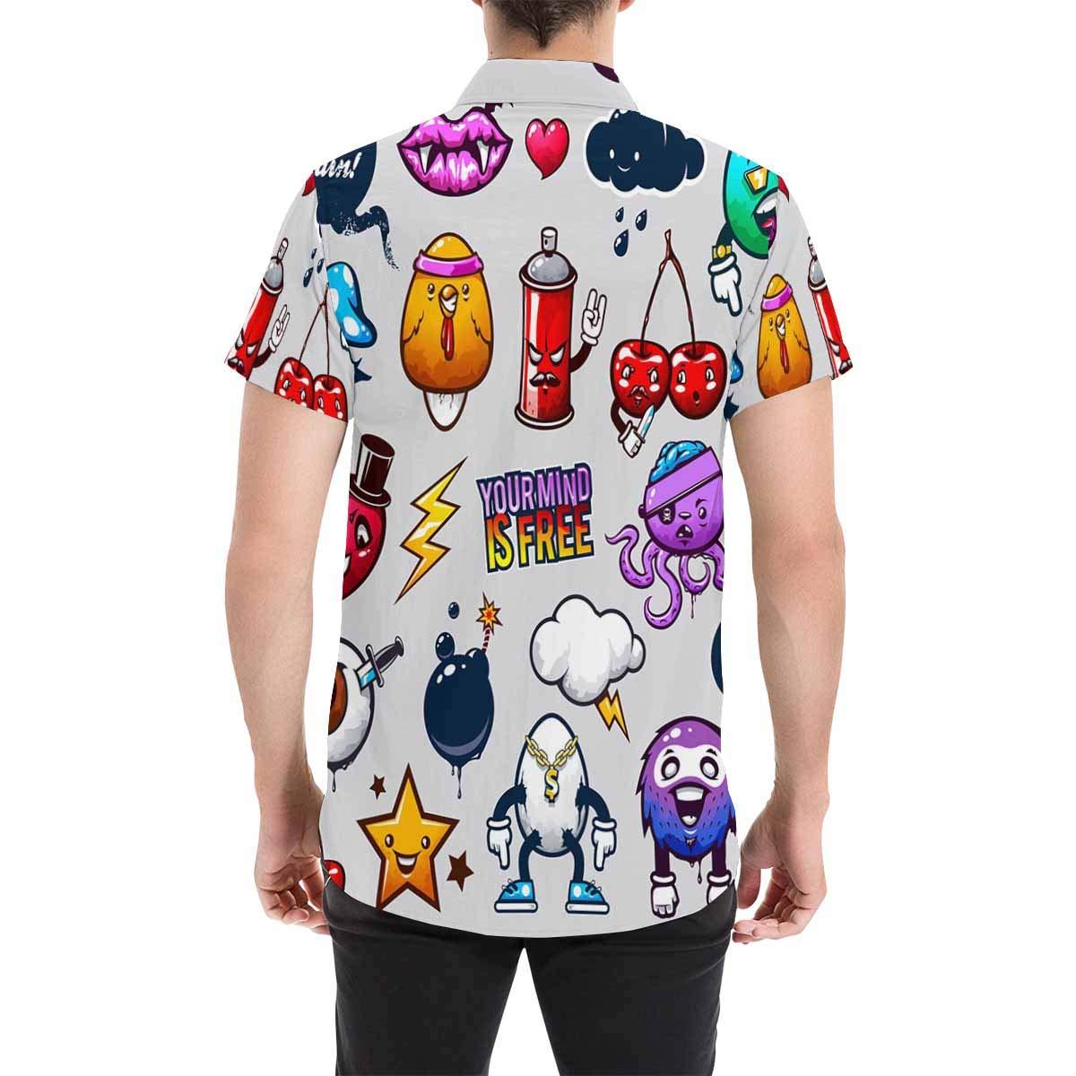 InterestPrint Cartoon Berry Heart Mushroon Shirt for Printed Short Sleeve Button Down Beach Shirt for Men
