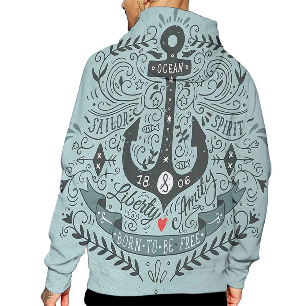Unisex 3D Novelty Hoodies Navy,Vintage Style Anchor Lettering Quotes and Floral Sailor Marine Design Artwork Print,Turquoise Sweatshirts for Women Plus Size