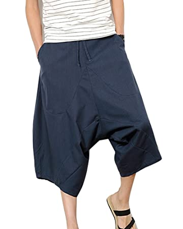 Pantalones Anchos Hombre Pantalones Cortos Bermudas Pantalones Hippies Transpirable Pantalones De Lino Café 2XL Ic6gR