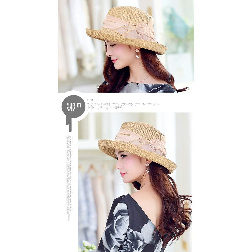 YD Hat - Straw Hat Ladies Summer Sun Visor Outdoor Travel UV Protection Sun Hat Sun Hat Cover Face Cool Hat (2 Colors) ## (Color : Beige) by YD-shop (Image #4)