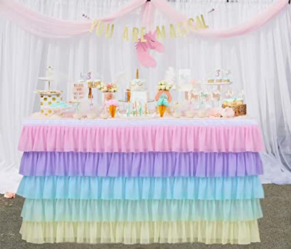 GewoneLife 9FT Rainbow Tulle Table Skirt Tutu Table Clothing for Stage Performance Birthday Baby Shower Party Decoration,Unicorn Table Skirt for ...