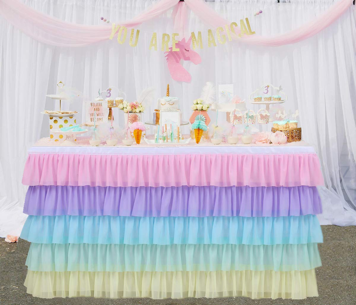 Rainbow Tulle Table Skirt Tutu Table Clothing for Stage Performance Birthday Baby Shower Party Decoration,14FT Unicorn Table Skirt for Rectangle and Round Tables. by Tulle Dream