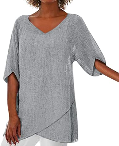 ZODOF Mujeres Camisetas Moda Mujer Irregular Sólido Tallas Grandes Manga Larga Cuello V Blusa Suelto Dobladillo Irregular Tops Blusa