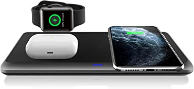 QI-EU Wireless Charger,3 in 1 Wireless Charging Station for iPhone 11/11pro/Se/X/XS/XR/Xs Max/8/8 Plus Apple Watch AirPods 2/Pro, Wireless Charging Pad for Samsung Galaxy S20/S10