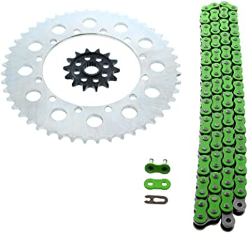 Kawasaki KX250F 250 F Green Chain and Sprocket Silver 13//47 114L