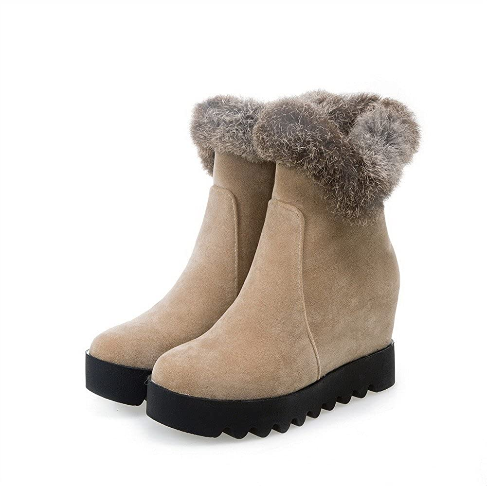AllhqFashion Womens Zipper High-Heels Imitated Suede Solid Low-Top Boots
